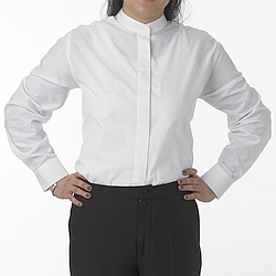 Henry Segal - 1103 - Ladies Dress Shirt (Banded Collar W/ Fly Front) - White