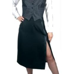 Henry Segal - 6001 - Ladies Tuxedo Skirt (Side-Slit) - Black